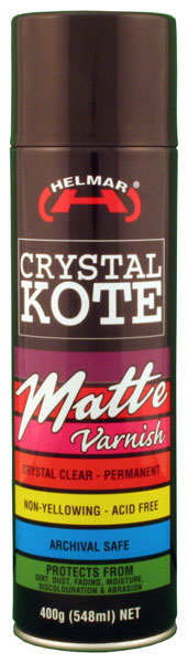 Helmar Crystal Kote Matte Varnish 400g Aerosol Spray, Acid Free, Interior Use Only.