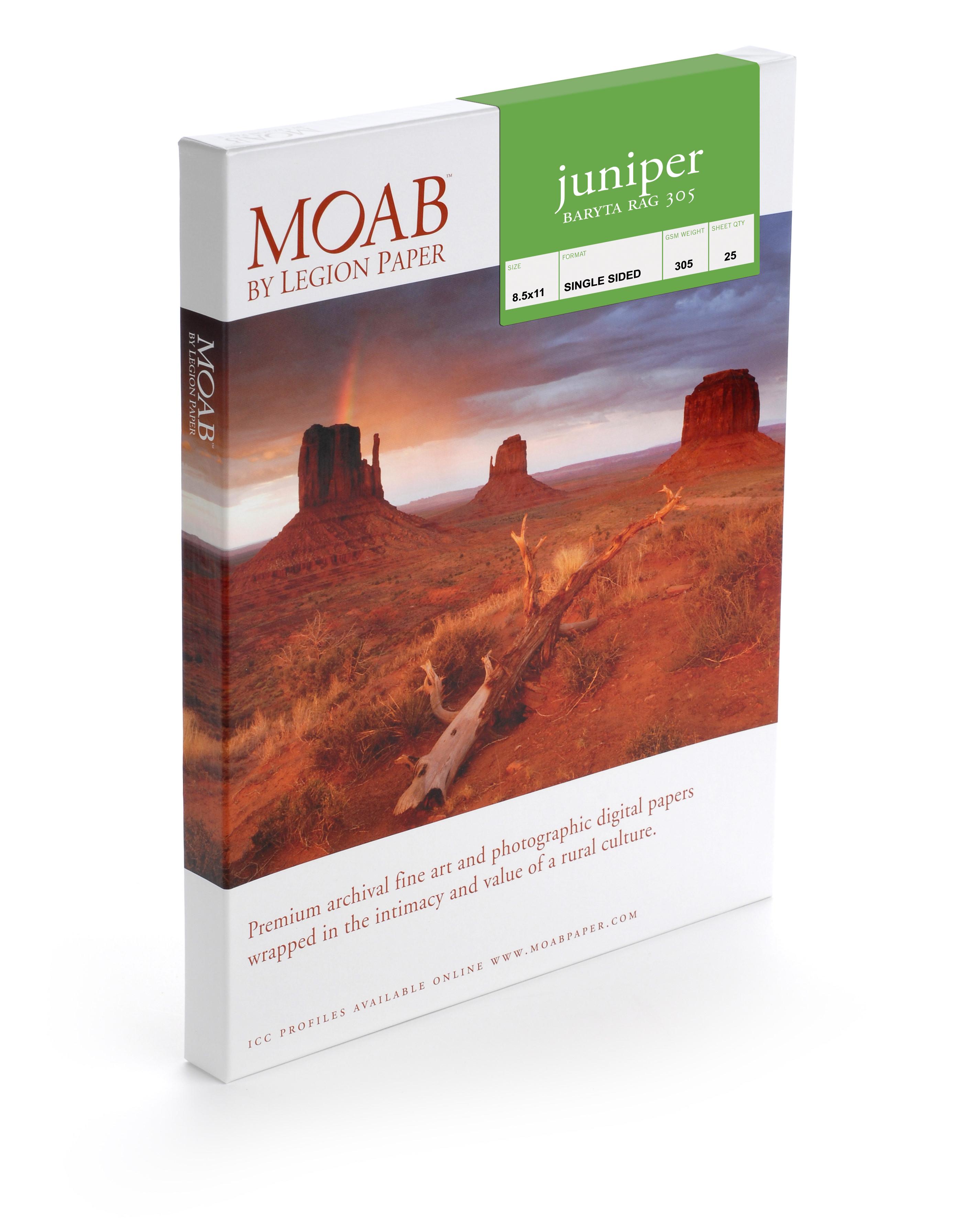 "A3+ 13"" x 19"" Moab Juniper Baryta Rag 305, 100% Cotton, True Baryta (25 Sheets)"