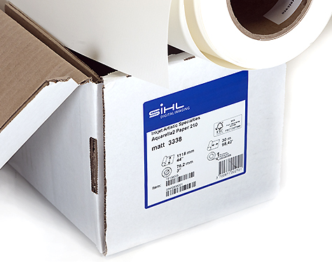 "24"" x 1.5m Sample roll Sihl Aquarella2 (3338) 210gsm, Medium Textured Fine Art paper, for Aqueous and Latex, Zero OBA"
