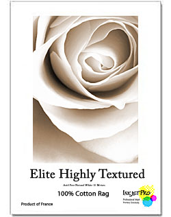 """InkjetPro Elite 13"""" x 19"""" A3+ Highly Textured Fine Art paper, 320gsm, 100% Cotton, Product of France, Zero OBA (20 Sheets)"""