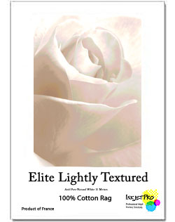 "InkjetPro Elite 13"" x 19"" A3+ Lightly Textured Fine Art paper, 240gsm, 100% Cotton, Product of France, Zero OBA (20 Sheets)"