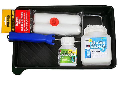 Kit of Satin 500ML sample bottle of InkjetPro GicleeShield-II, General Purpose Liquid Laminate with InkjetPro Stroke, Tray, Roller Frame & Roller Foams (2)