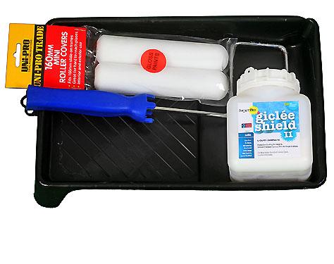 Kit of Satin 500ML sample bottle of InkjetPro GicleeShield-II, General Purpose Liquid Laminate with Tray, Roller Frame & Roller Foams (2)