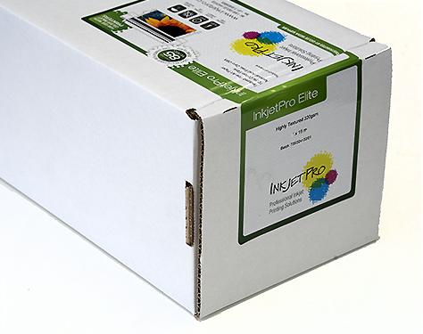 "InkjetPro Elite 44"" x 50' roll, Highly Textured Fine Art paper, 320gsm, 100% Cotton, Product of France, Zero OBA"
