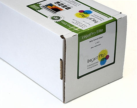 "InkjetPro Elite 50"" x 50' roll, Highly Textured Fine Art paper, 320gsm, 100% Cotton, Product of France, Zero OBA"