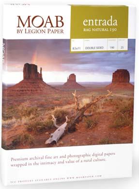 """Moab Entrada, 190 gsm,  Natural, 17"""" x 22"""" (25 Sheets)"""