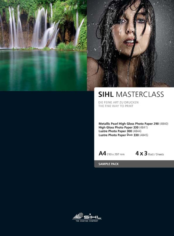 A4 Sample Pack SIHL MASTERCLASS, 4 x 3 sheets of each: Metallic Pearl High Gloss Photo Paper 290 (4840), High Gloss Photo Paper 330 (4841), Lustre Photo Paper 300 (4844), Lustre Photo Paper 330 Duo (4845)