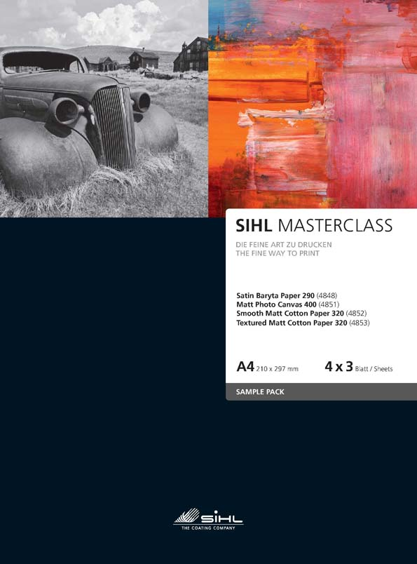A4 Sample Pack SIHL MASTERCLASS, 4 x 3 sheets of each: Satin Baryta Paper 290 (4848), Matt Photo Canvas 400 (4851), Smooth Matt Cotton Paper 320 (4852), Textured Matt Cotton Paper 320 (4853)