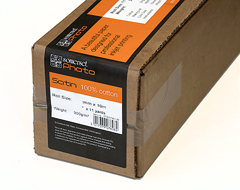 """44"""" x 33' Somerset Photo Satin (Museum Rag) 300gsm, smooth surface, 100% mould made cotton roll"""