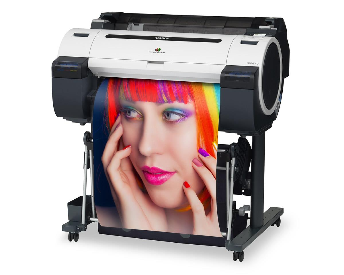 """Canon imagePROGRAF 670 24"""" Colour Technical Large Format Printer, 5 colour (130ml inks only). Incl. stand, basket;RH2-26 Roll Holder;Set of 90ml starter ink(MBK/C/M/Y/BK);High speed (480Mbit/s) USB;24 month defect warranty(inc. print head)"""