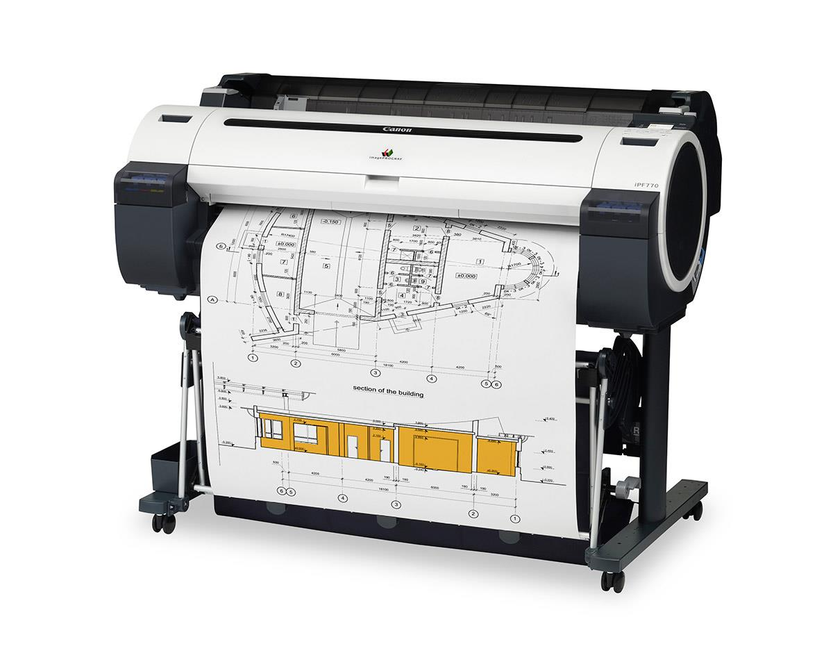 """Canon imagePROGRAF 770 36"""" Colour Technical Large Format Printer, 5 colour (130ml inks only). Incl. stand, basket, RH2-33 Roll Holder;Set of 90ml starter ink (MBK/C/M/Y/BK);High speed (480Mbit/sec) USB; 24 month defect warranty (inc. print head)"""