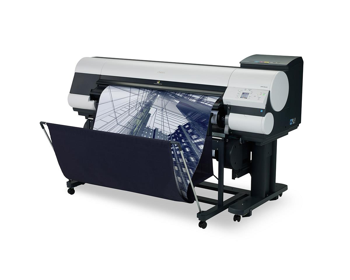 """Canon imagePROGRAF 840 44"""" Colour Technical Large Format Printer, 5 colour (330 / 700ml inks) with DUAL ROLL and 320GB HDD.Incl. stand, basket, RH2-44 Roll Holder;Set of 330ml starter ink (MBK/C/M/Y/BK);24 month defect warranty (inc. print head)"""