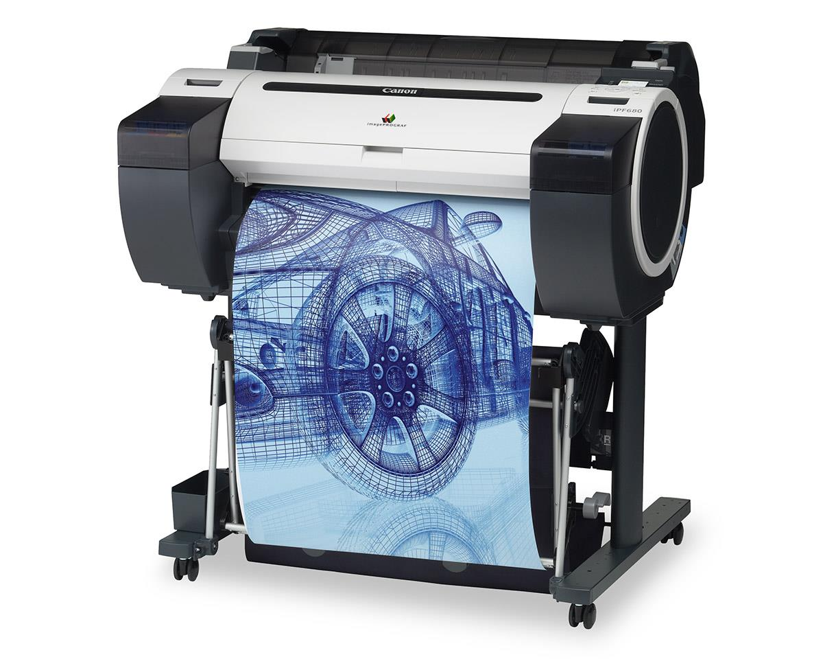 """Canon imagePROGRAF 680 24"""" Colour Technical Large Format Printer, 5 colour (130 / 300ml inks). Incl. stand, basket;RH2-26 Roll Holder;Set of 90ml starter ink(MBK/C/M/Y/BK);High speed (480Mbit/s) USB;24 month defect warranty(inc. print head)"""