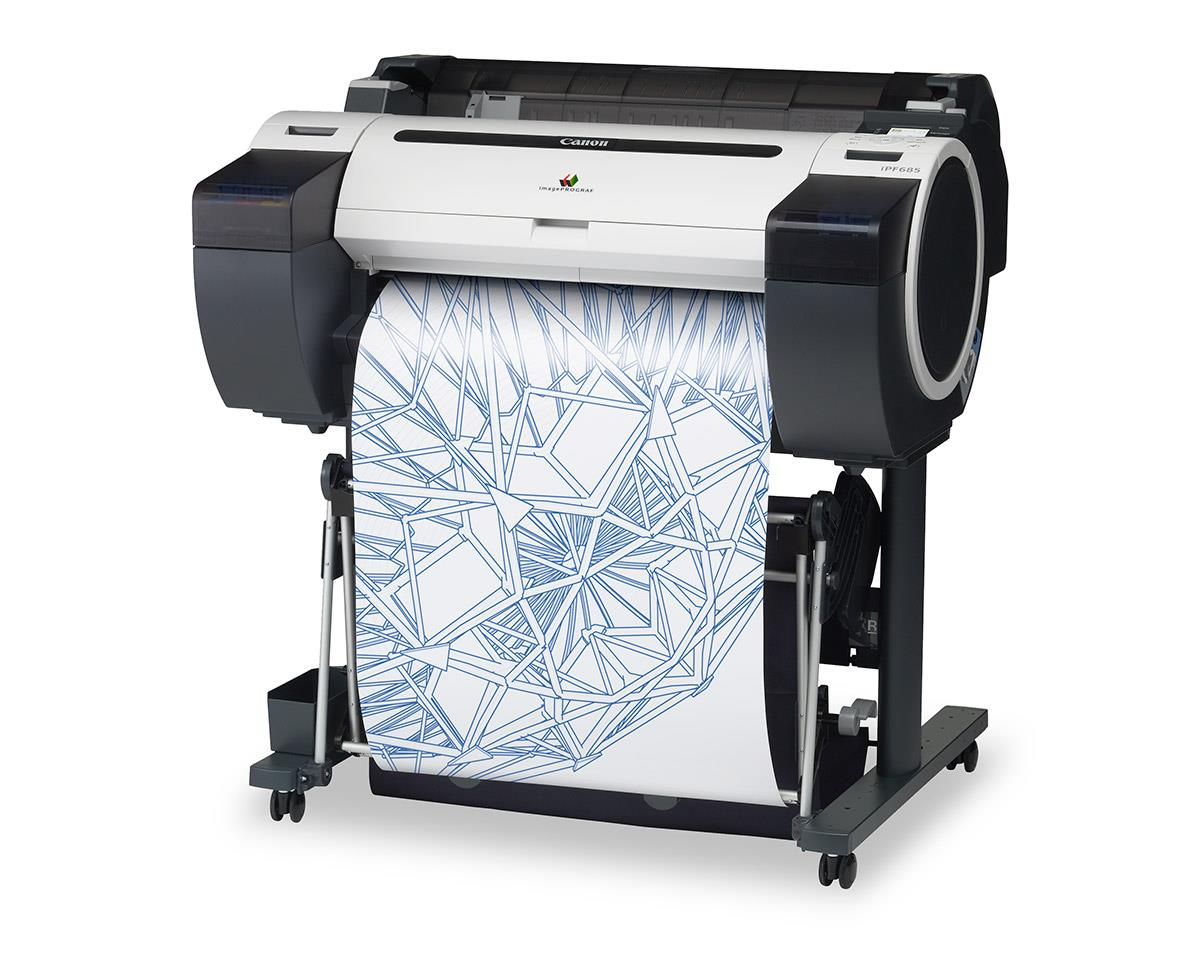"""Canon imagePROGRAF 685 24"""" Colour Technical Large Format Printer, 5 colour (130 / 300ml inks) with 320GB HDD. Incl. stand, basket;RH2-26 Roll Holder;Set of 90ml starter ink(MBK/C/M/Y/BK);High speed (480Mbit/s) USB;24 month defect warranty(inc. print head)"""