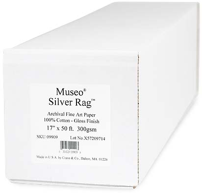 """17"""" x 50ft Museo Silver Rag 300gsm Roll"""