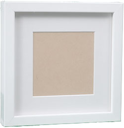 InkjetPro Classic White Frame, 40mm wood box frame with matt board.
